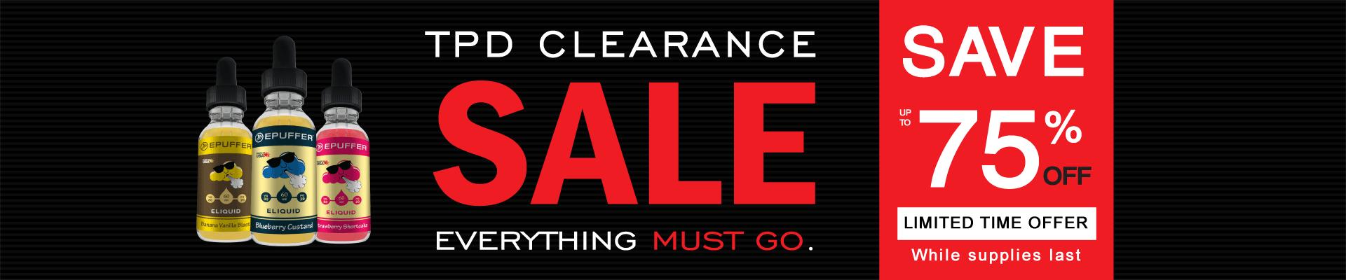 TPD Clearance Vape Sale